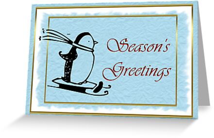 Seasoon's Greetings Christmas with penguin by Cheryl Hall