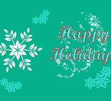 Happy holidays Christmas card with snowflakes by Cheryl Hall