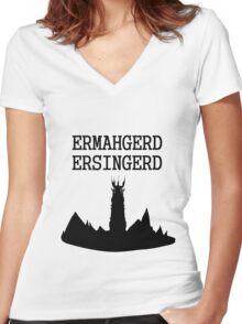 ERMAHGERD ERSINGERD Women's Fitted V-Neck T-Shirt