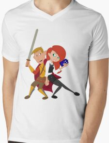 Kim & Ron Cosplay Amy & Rory Mens V-Neck T-Shirt