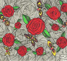 Roses and Moths by ClippityClopArt