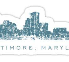 Baltimore, Maryland City Skyline Vintage Blue Sticker
