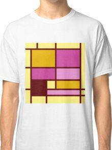 Mondrian style design yellow fuchsia Classic T-Shirt