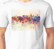 Dallas skyline in watercolor background Unisex T-Shirt