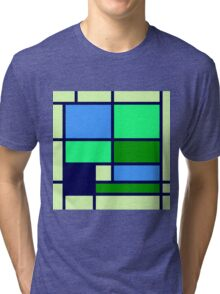 Mondrian style design blue green Tri-blend T-Shirt