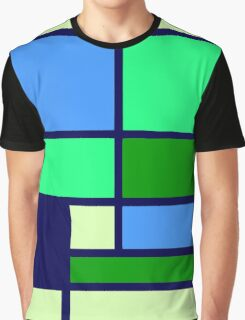 Mondrian style design blue green Graphic T-Shirt