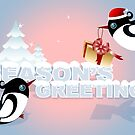 Winter Season Card - Cute Birds with Christmas Gift by ruxique