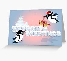 Winter Season Card - Cute Birds with Christmas Gift Greeting Card
