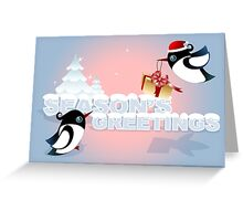 Winter Season Card - Cute Birds with Christmas Gift Greeting Card