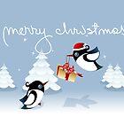 Xmas Card - Birds, Trees & Christmas Gift by ruxique