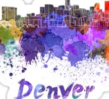 Denver skyline in watercolor Sticker