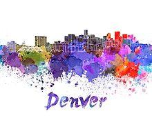 Denver skyline in watercolor by paulrommer