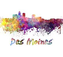 Des Moines skyline in watercolor by paulrommer