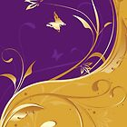 Purple &amp; Gold Scroll by monkeydesigns4u