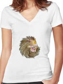 Sophie the Sleepy Hedgehog Women's Fitted V-Neck T-Shirt