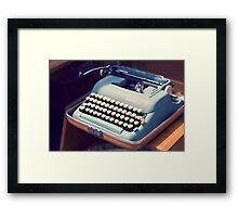 Vintage Baby Blue Typewriter Framed Print