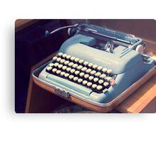 Vintage Baby Blue Typewriter Metal Print