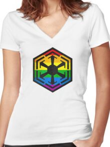 Rainbow Sith Women's Fitted V-Neck T-Shirt