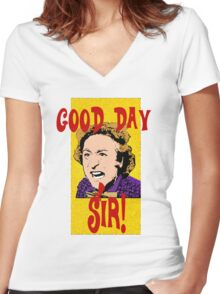 Good Day, Sir! Willy Wonka Women's Fitted V-Neck T-Shirt