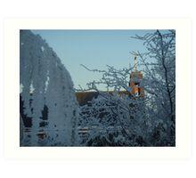 Winter scene with church II Art Print