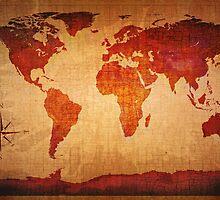 World Map Grunge Styled by Johan Swanepoel