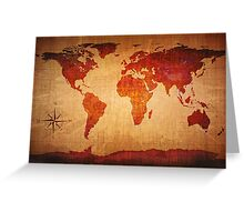 World Map Grunge Styled Greeting Card