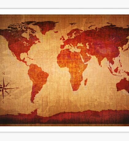 World Map Grunge Styled Sticker