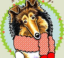 Collie Happy Howlidays by offleashart