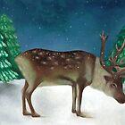 'Reindeer in Snow' by Valena Lova