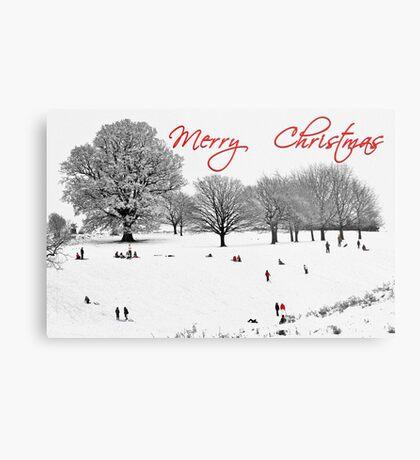 Christmas Sledging Metal Print