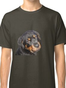 Female Rottweiler Puppy Making Eye Contact Vector Isolated Classic T-Shirt