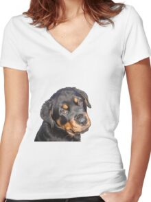 Female Rottweiler Puppy Making Eye Contact Vector Isolated Women's Fitted V-Neck T-Shirt