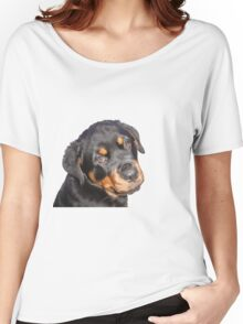 Female Rottweiler Puppy Making Eye Contact Vector Isolated Women's Relaxed Fit T-Shirt