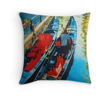 Gondole - Blue & Red Throw Pillow