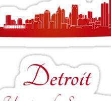 Detroit skyline in red Sticker