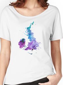 UK map in Watercolours Women's Relaxed Fit T-Shirt