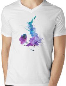 UK map in Watercolours Mens V-Neck T-Shirt