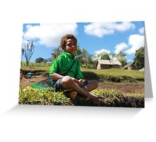 Young Village Boy Greeting Card