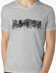 Doha skyline in black watercolor  Mens V-Neck T-Shirt