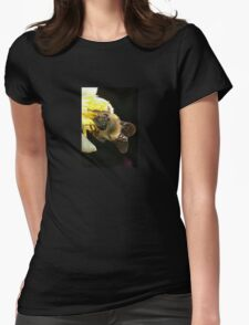 Honey Bee Pollinating Lemon Flower Close Up Womens Fitted T-Shirt