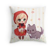 Little red ridding hood Throw Pillow