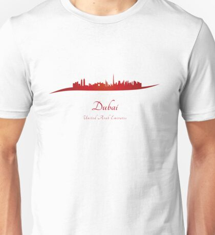 Dubai skyline in red Unisex T-Shirt
