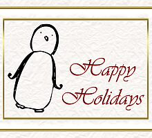 Merry Christmas happy holidays card with penguin and snow by Cheryl Hall
