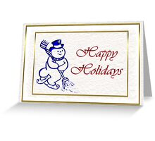 Merry Christmas happy holidays card with snowman Greeting Card