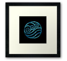 Water Tribe Watercolor Symbol (on black) Framed Print