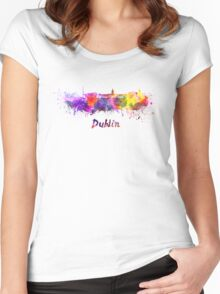 Dublin skyline in watercolor Women's Fitted Scoop T-Shirt