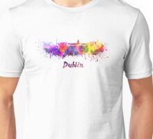 Dublin skyline in watercolor Unisex T-Shirt