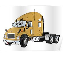Semi Truck Cab Gold Poster
