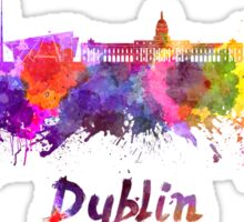 Dublin skyline in watercolor Sticker