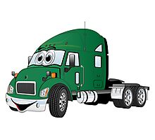 Semi Truck Cab Green Photographic Print